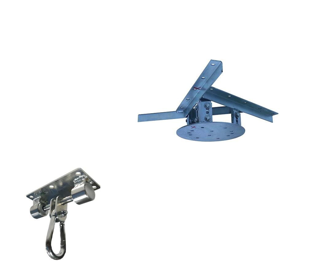 Kit extensor ajustável para teto com forro de gesso - 11 a 15cm + suporte balanço mosquetão chapa retangular