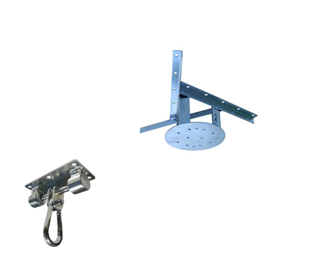 Kit extensor ajustável para teto com forro de gesso - 15 a 20cm + suporte balanço mosquetão chapa retangular