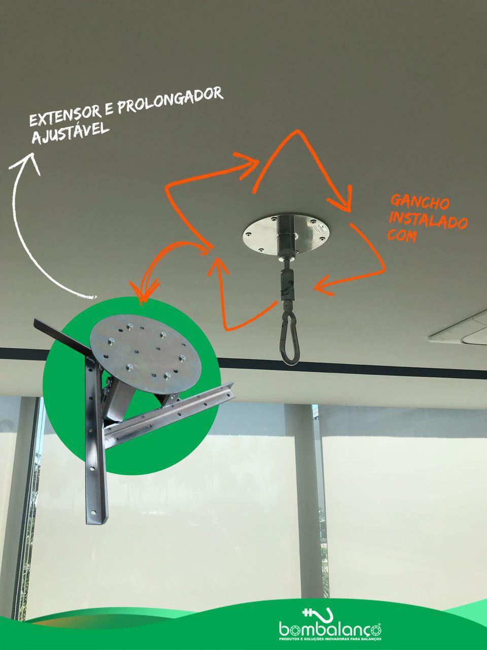 Kit extensor ajustável para teto com forro de gesso - 20 a 26 cm + mosquetão giratório