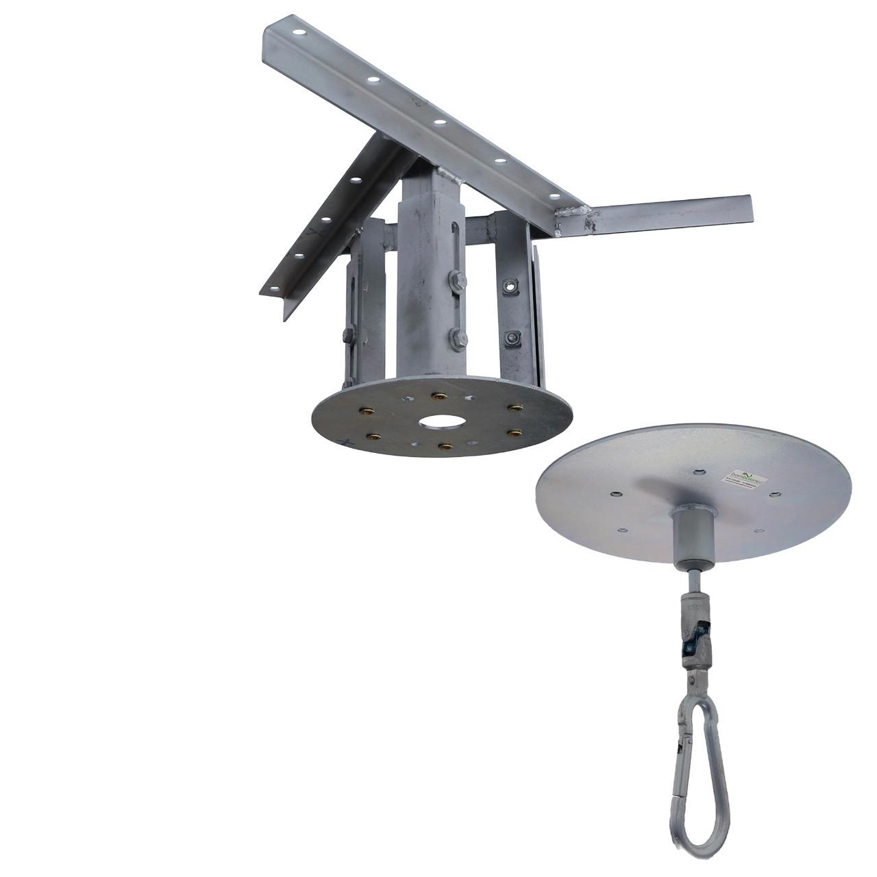 Kit extensor ajustável para teto com forro de gesso - 20 a 26 cm + Mosquetão Giratório com Colarinho 150Kg