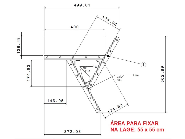 Kit extensor ajustável para teto com forro de gesso - 20 a 26 cm + mosquetão giratório semi-embutido