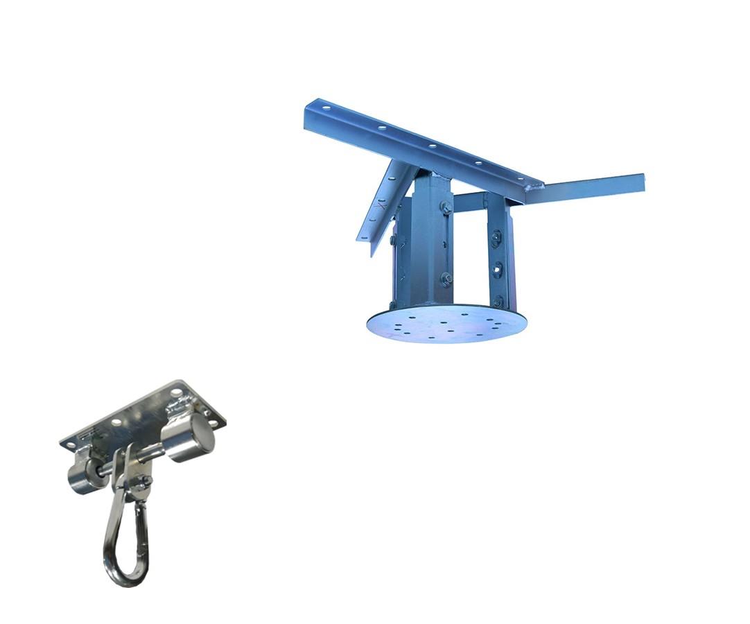 Kit extensor ajustável para teto com forro de gesso - 20 a 26cm + suporte balanço mosquetão chapa retangular