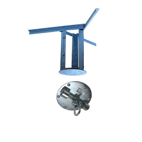 Kit extensor ajustável para teto com forro de gesso - 26 a 37cm + suporte balanço mosquetão chapa redonda