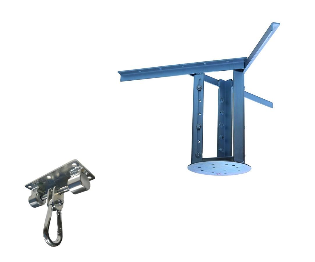 Kit extensor ajustável para teto com forro de gesso - 26 a 37cm + suporte balanço mosquetão chapa retangular