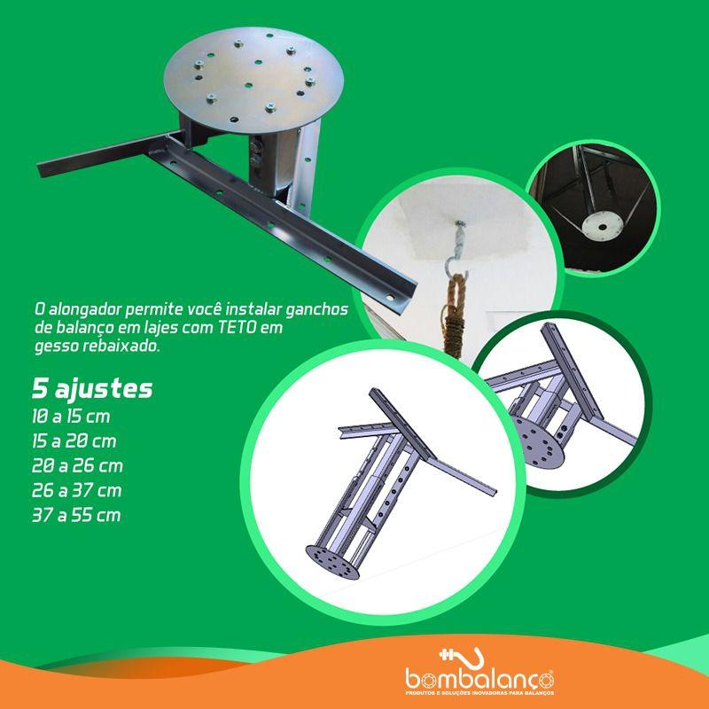 Kit extensor ajustável para teto com forro de gesso - 37 a 55 cm + gancho giratório