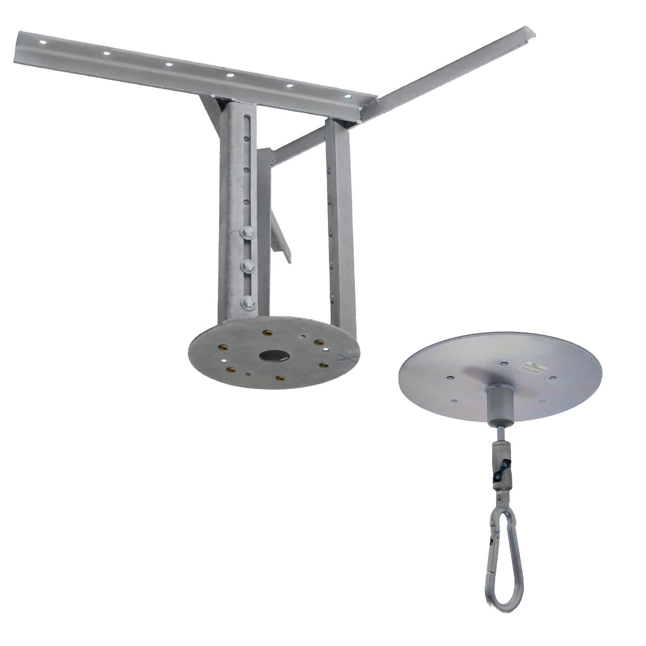 Kit extensor ajustável para teto com forro de gesso - 37 a 60 cm + Mosquetão Giratório com Colarinho 150Kg