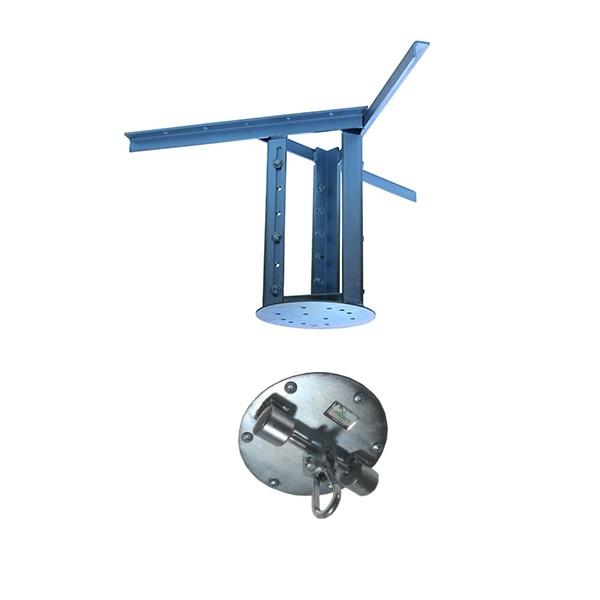 Kit extensor ajustável para teto com forro de gesso - 37 a 60cm + suporte balanço mosquetão chapa redonda