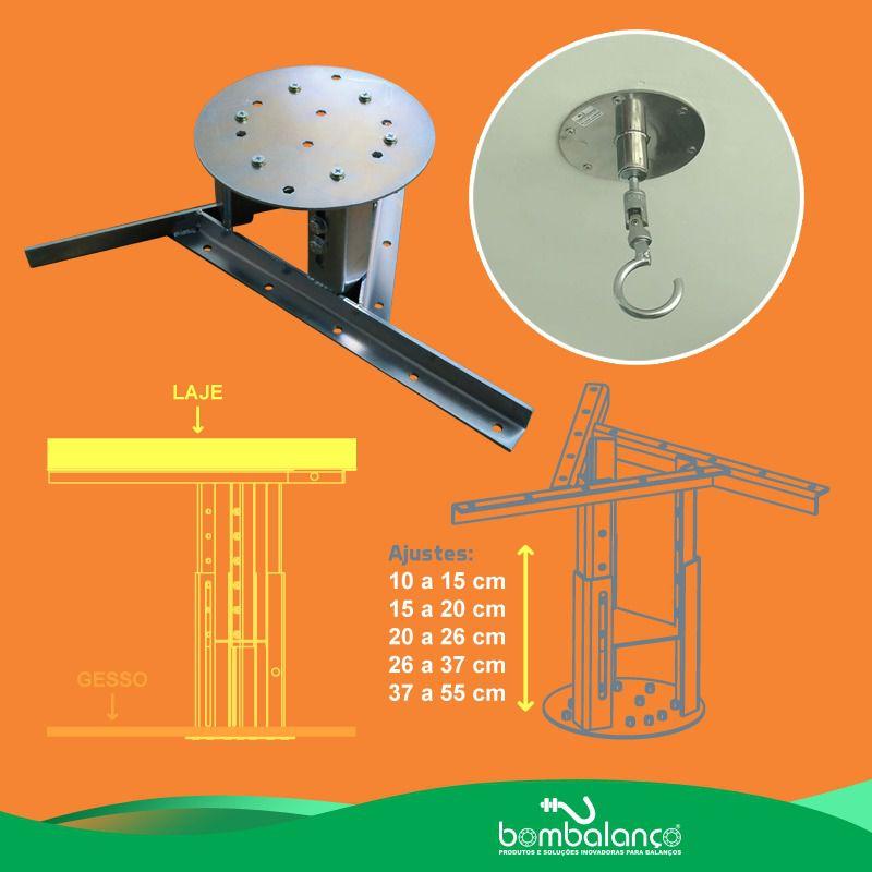 Kit extensor ajustável para teto com forro de gesso - 60 a 96 cm + gancho giratório