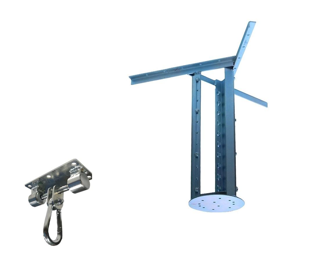 Kit extensor ajustável para teto com forro de gesso - 60 a 96cm + suporte balanço mosquetão chapa retangular