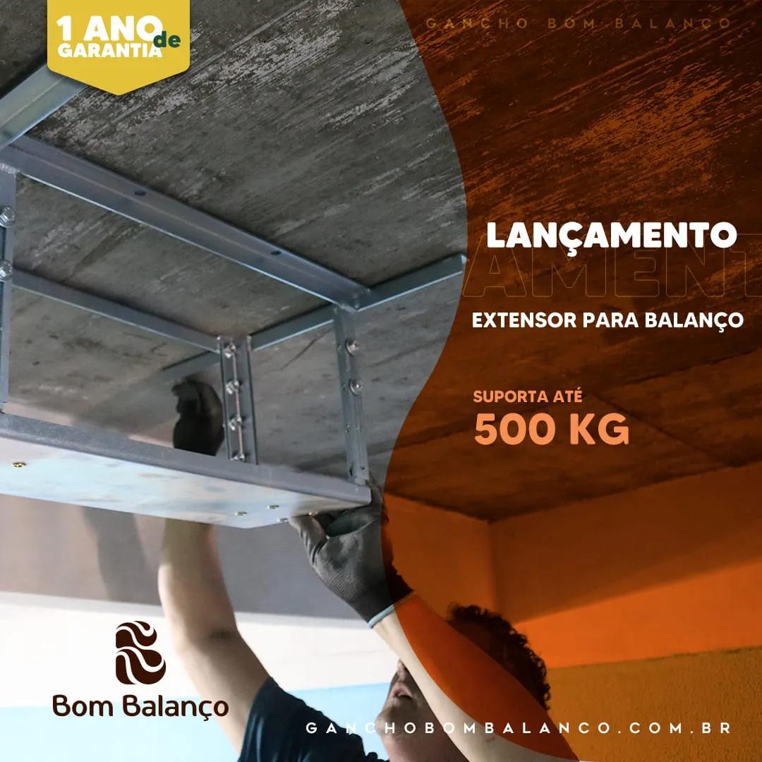 Kit extensor ajustável retangular para teto com forro de gesso - 10 a 14 cm + balanço compacto chapa retangular - 100 kg