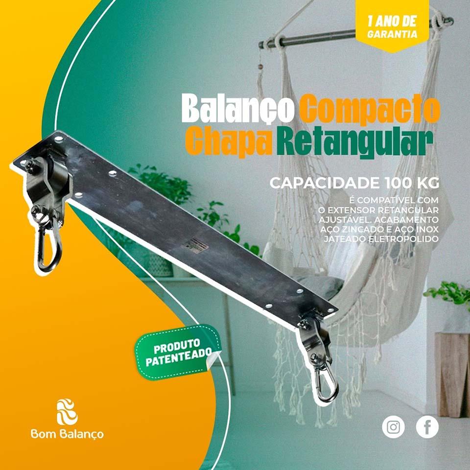 Kit extensor ajustável retangular para teto com forro de gesso - 14 a 22 cm + balanço compacto chapa retangular - 100 kg