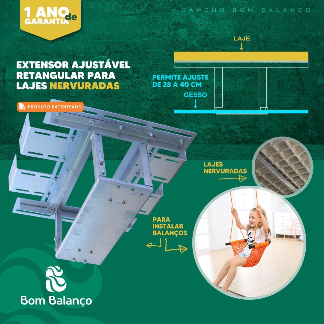 Kit extensor ajustável retangular para teto com forro de gesso - 14 a 22 cm + par balanço compacto chapa retangular - 100 kg