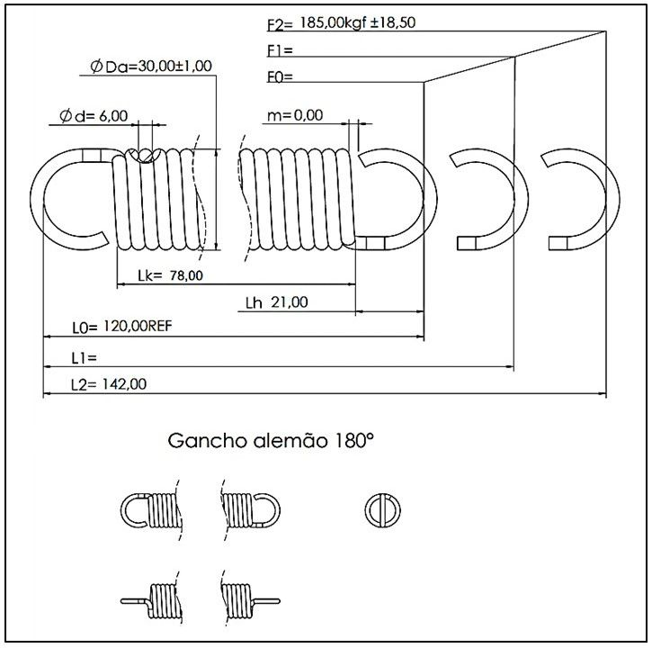 Kit 01 Mola conforto 6x30x120 mm + 01 Mosquetão 10x100 mm (cromado)