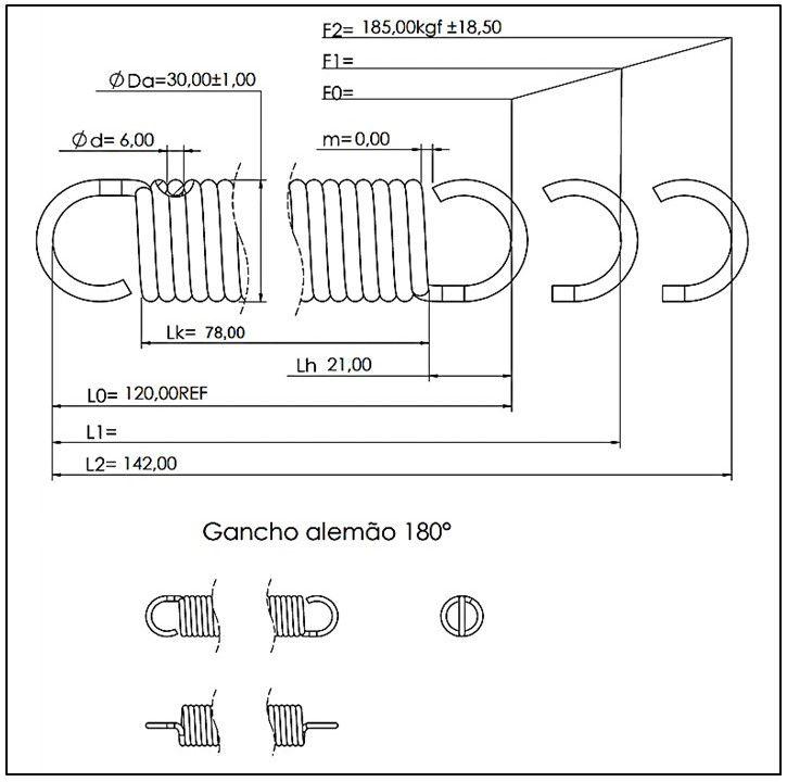 Kit 01 Mola conforto 6x30x120 mm + 01 Mosquetão 10x100 mm (inox polido)