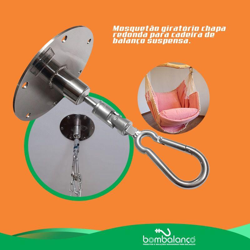 Mosquetão Giratório Para Cadeira de Balanço até 150kg - 11 x 120 mm