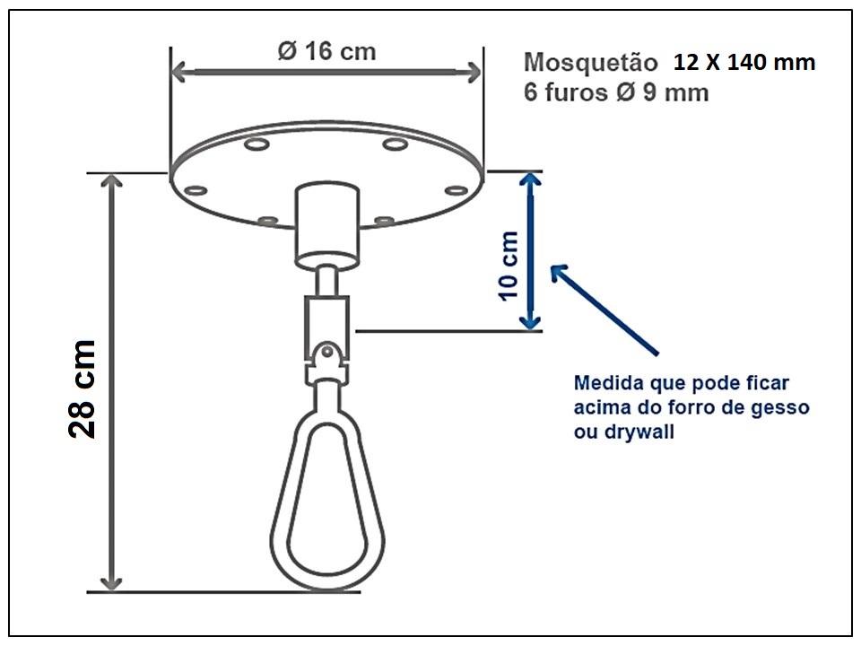 Mosquetão giratório para cadeira de Balanço Suspensa - 12x140 mm - Capacidade 300 kg