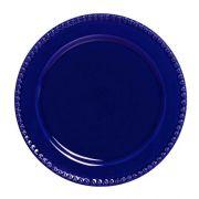 Conjunto 06 Pratos Raso Bolinha Azul