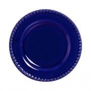 Conjunto 06 Pratos Sobremesa Bolinha Azul