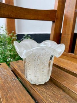 Cristal de Murano Branco com Pó de Ouro 24K