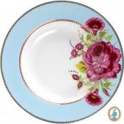 Prato de Sopa Azul - Floral