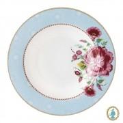 Prato de Sopa Rose Azul - Floral