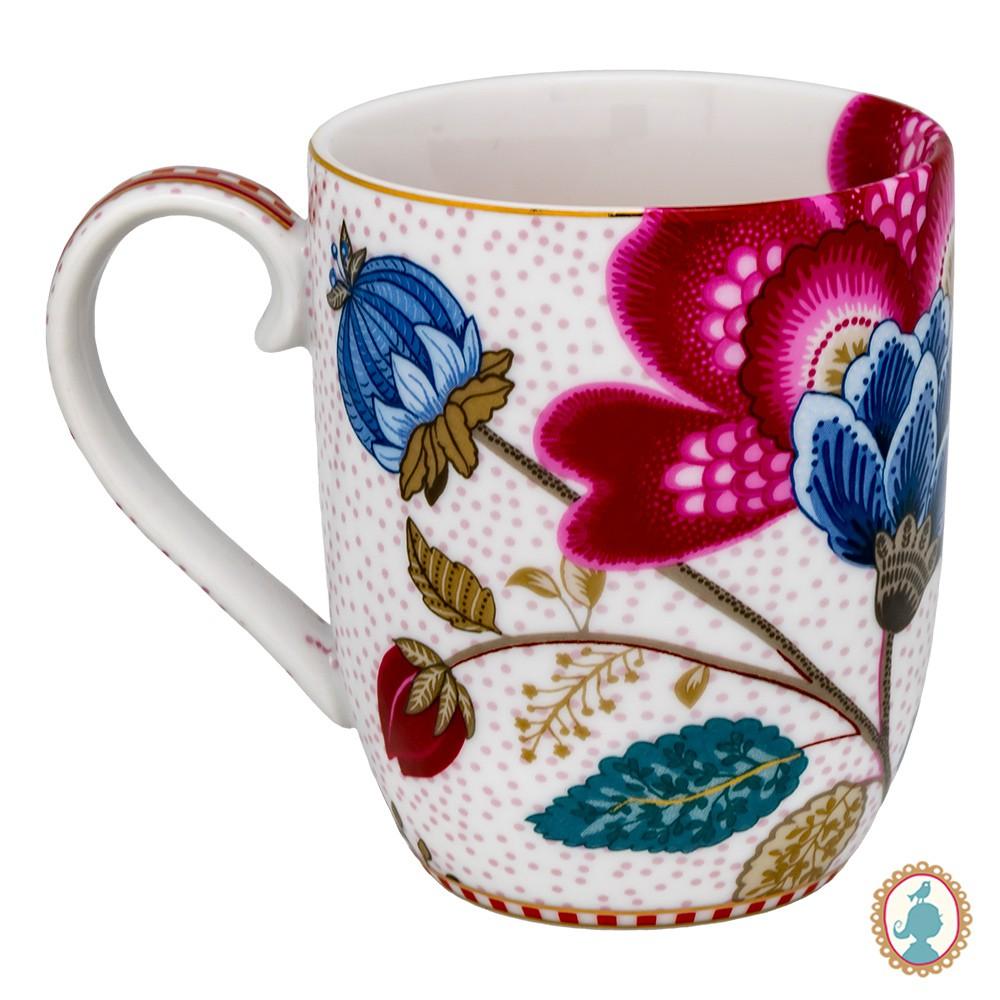 Caneca Grande Branca - Floral Fantasy