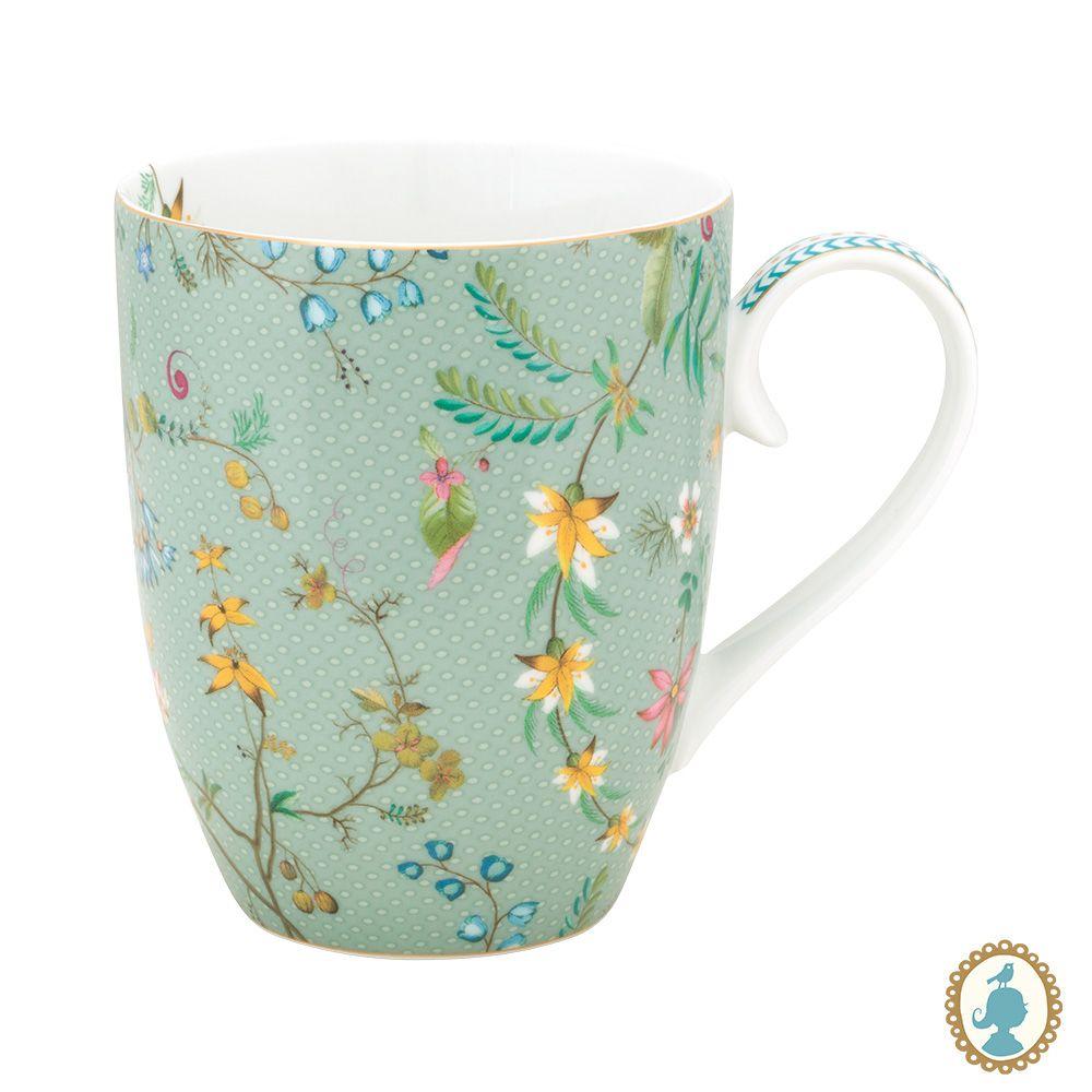 Caneca Grande Flowers Azul - Jolie