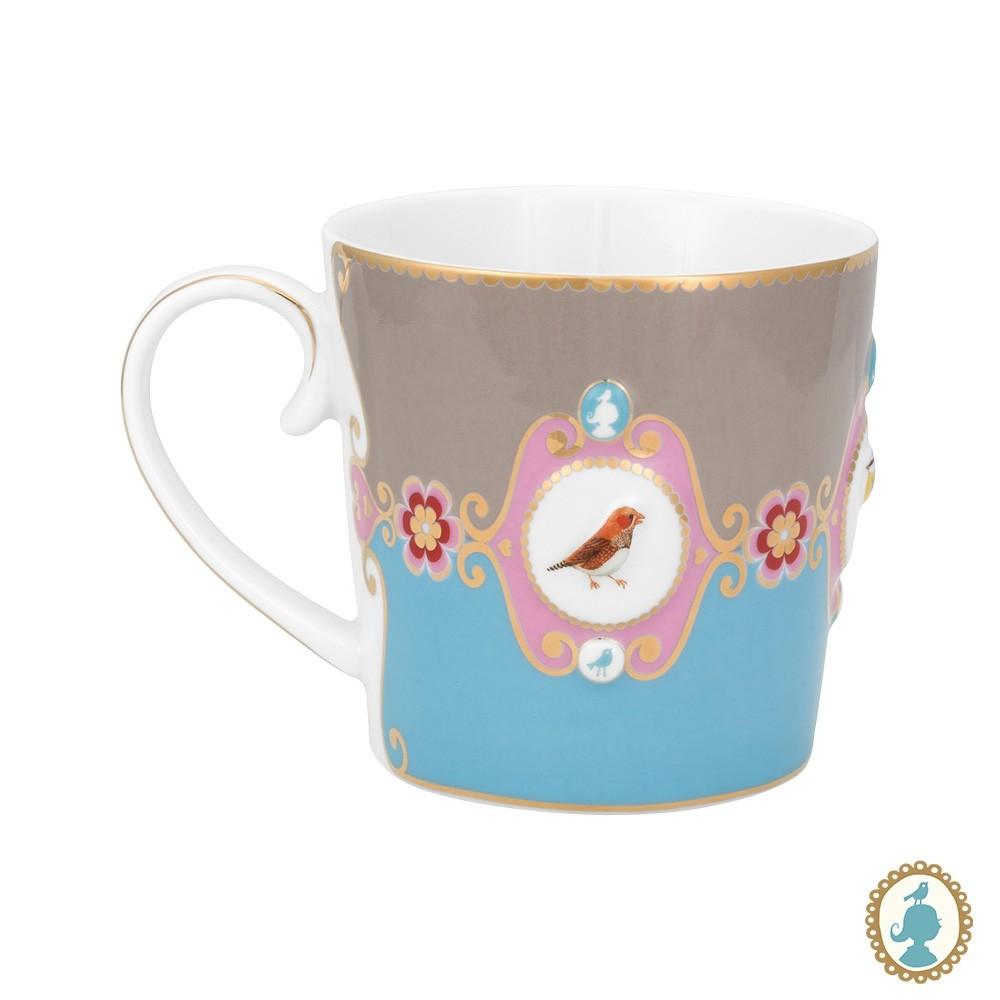 Caneca Pequena Medallion Azul/Caqui - Love Birds