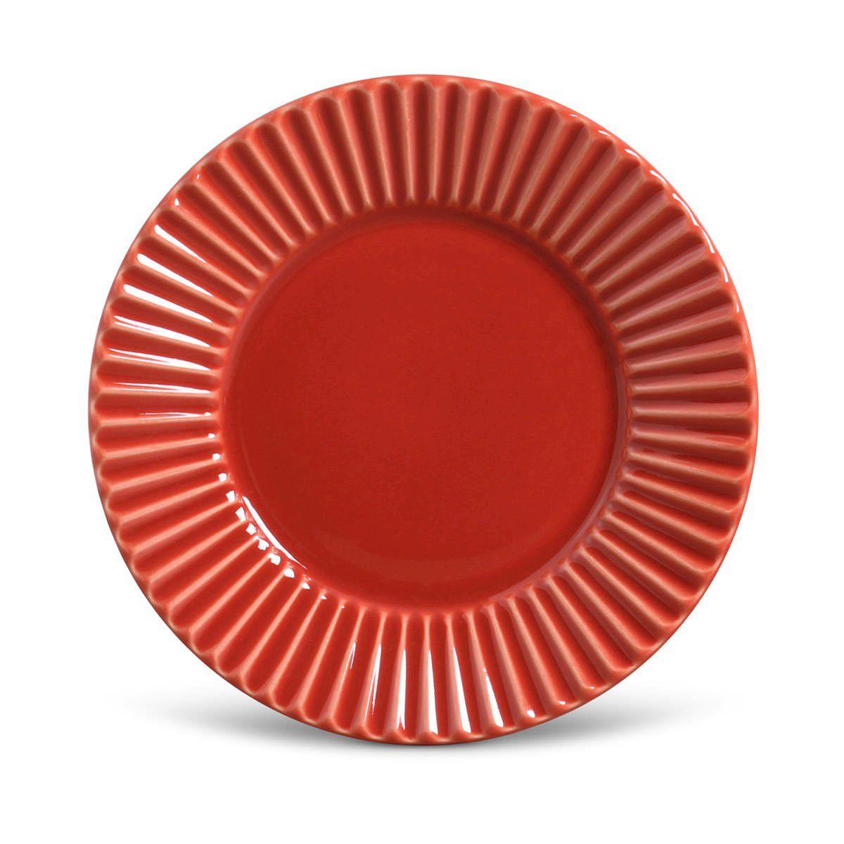 Conjunto 08 Pratos Rasos Plissado Vermelho