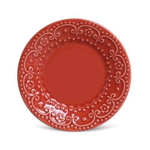 Conjunto 06 Pratos Sobremesa Madri Vermelho