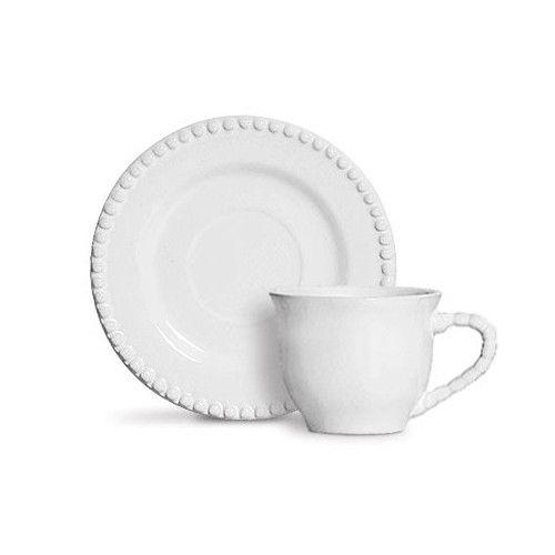 Conjunto 06 Xícaras Chá Bolinha Branca
