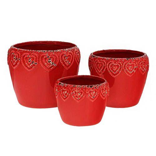 Conjunto de 3 Vasos Vermelhos