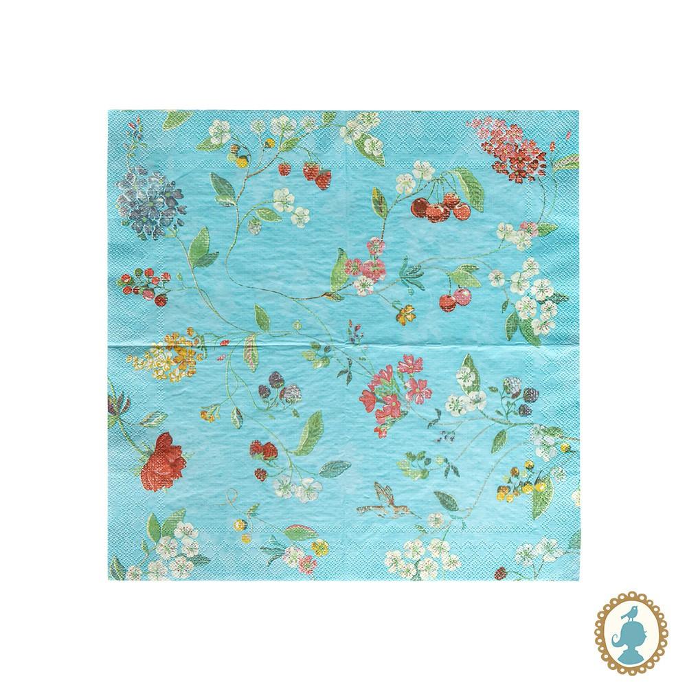 Guardanapo Hummingbirds Azul 20 Unidades - Floral