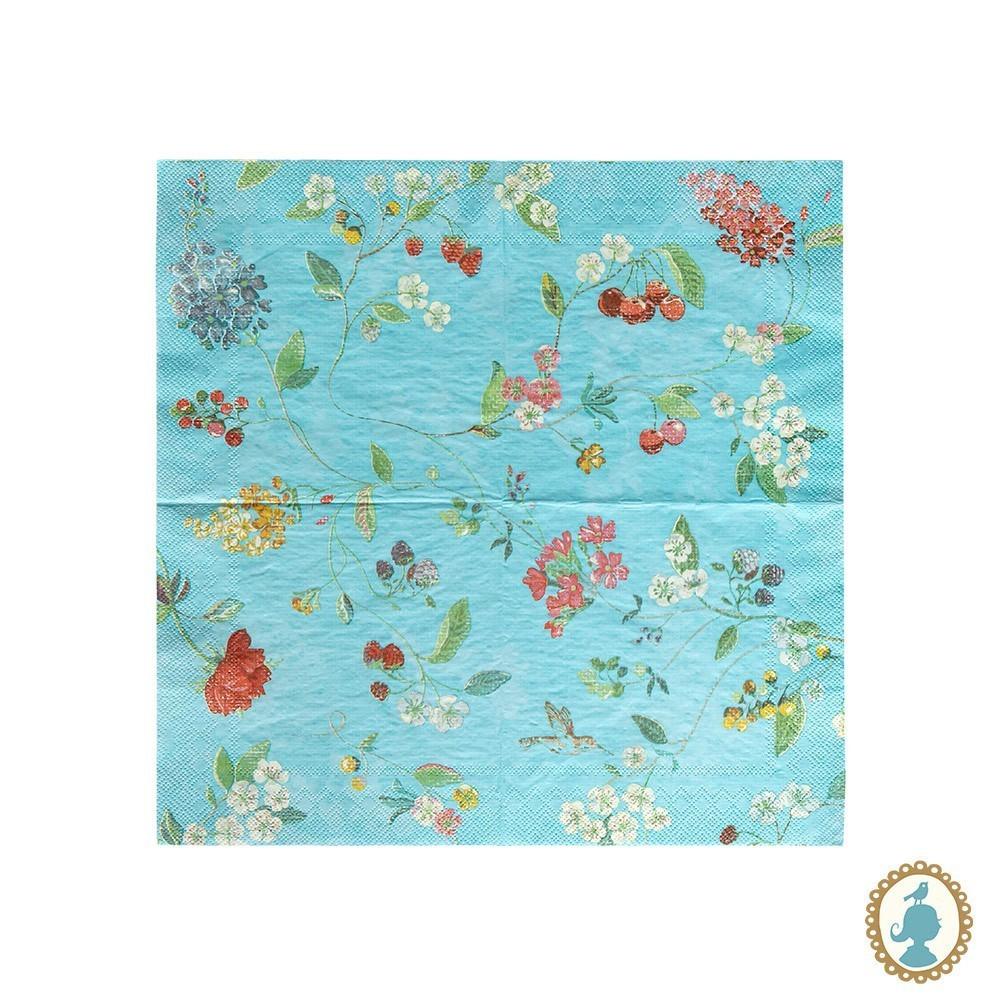 Guardanapo Pip Studio Hummingbirds Azul 20 Unidades - Floral
