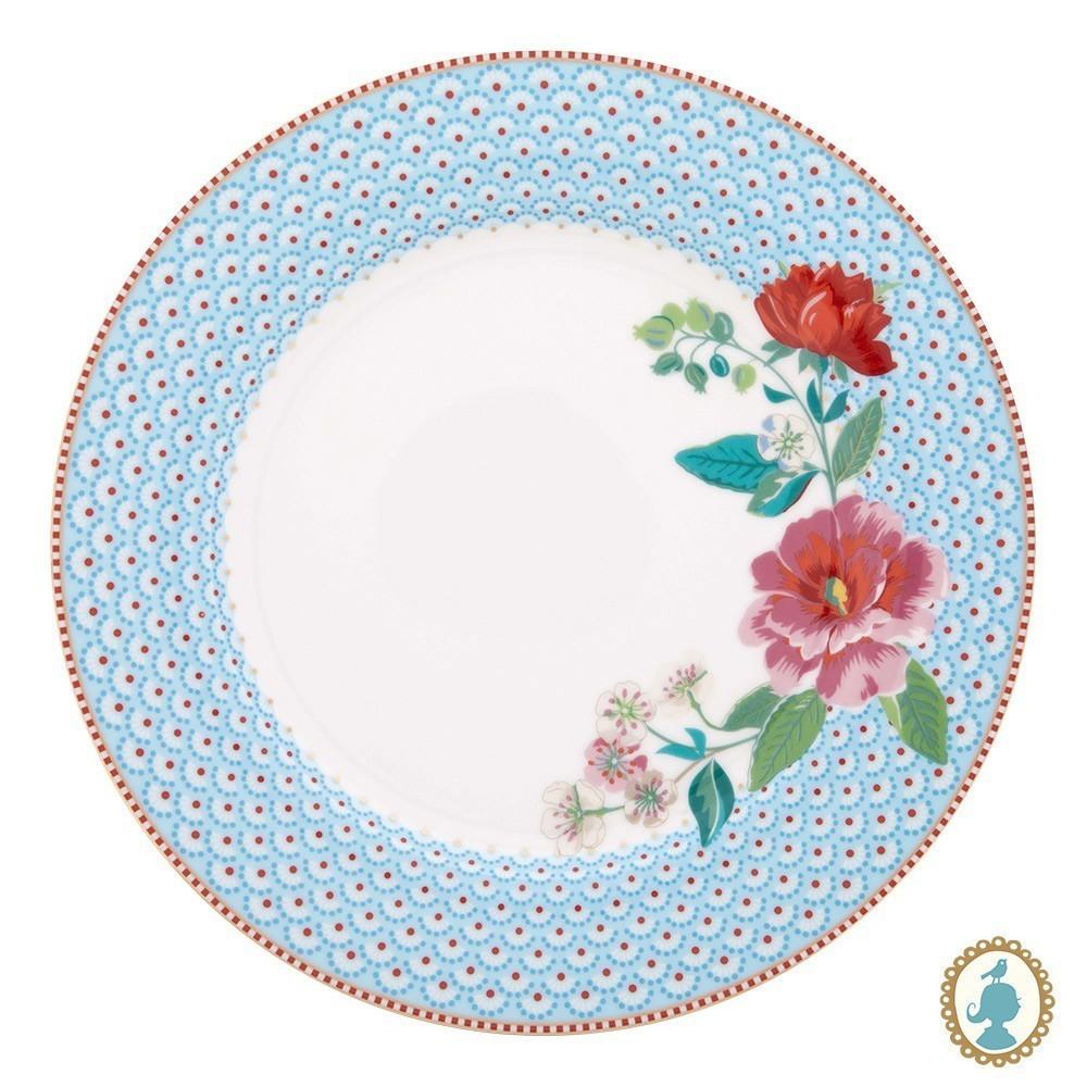 Prato de Jantar Rose Azul - Floral