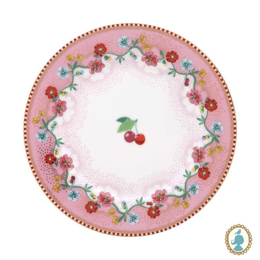 Prato de Pão Cherry Rosa - Floral