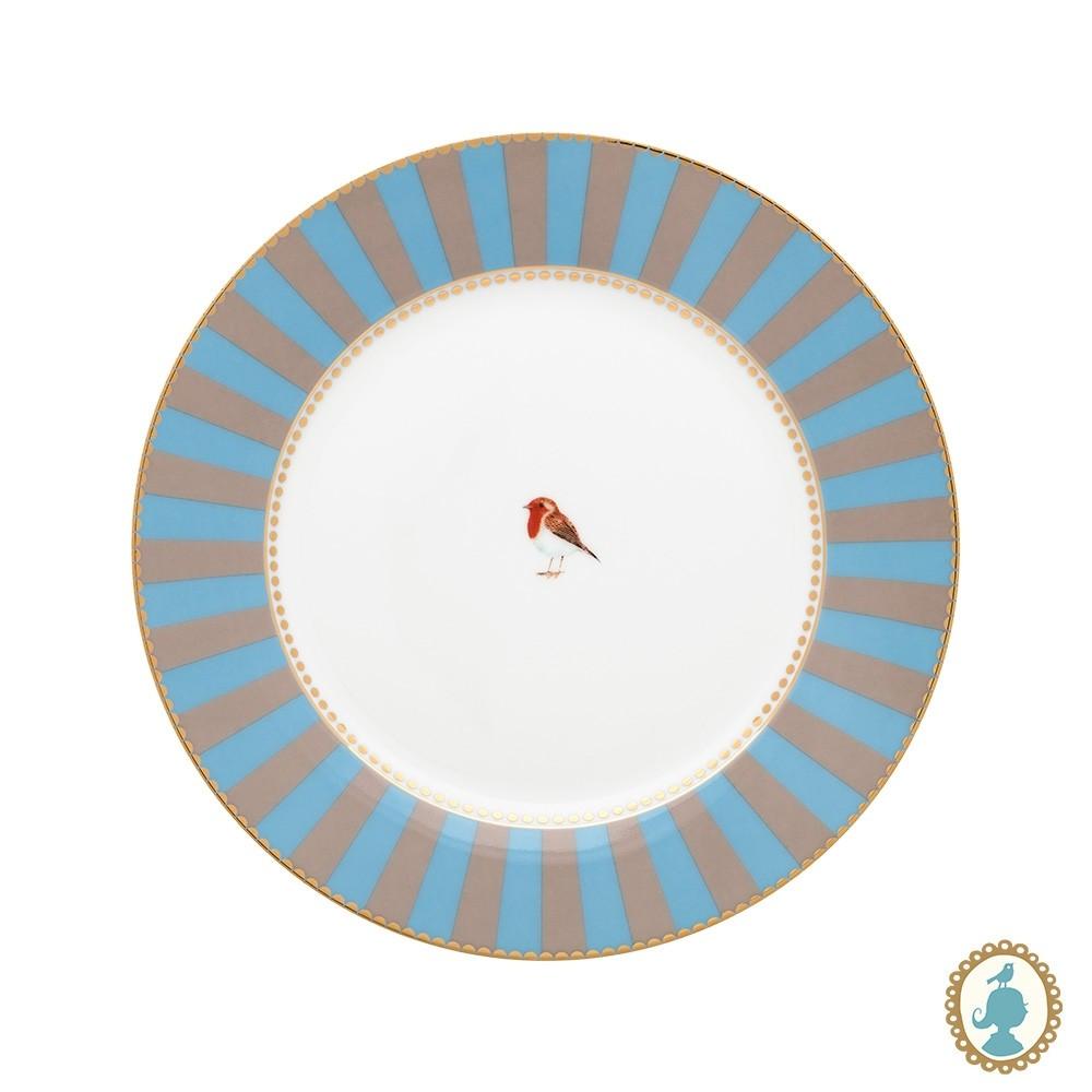 Prato de Sobremesa Azul Stripes - Love Birds