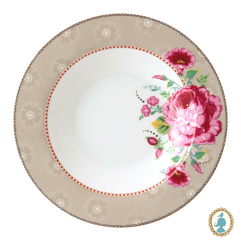 Prato de Sopa Rose Caqui - Floral