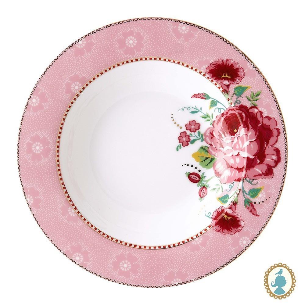 Prato de Sopa Rose Rosa - Floral