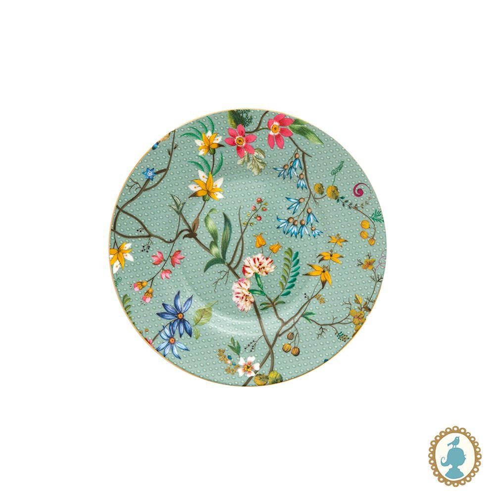 Prato Petit Four Flowers Azul - Jolie