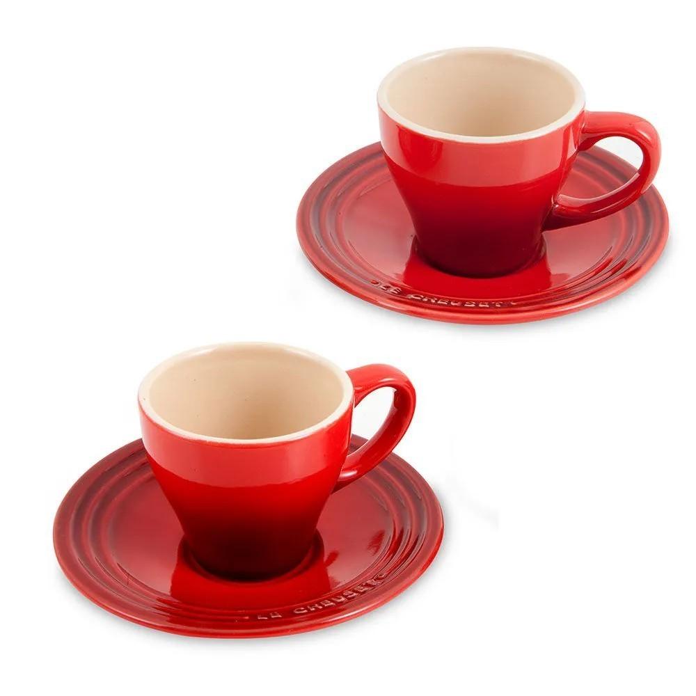 Set 2 Xícaras Espresso com Pires Vermelho Cerise
