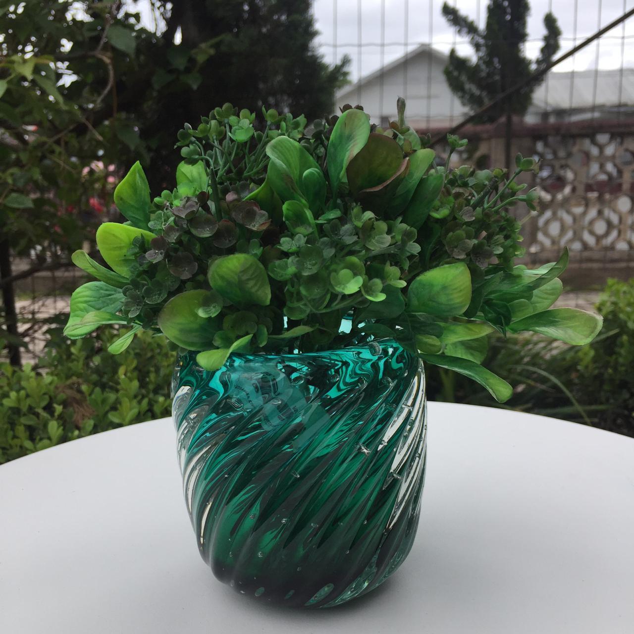 Vaso Cristal de Murano Jade Verde