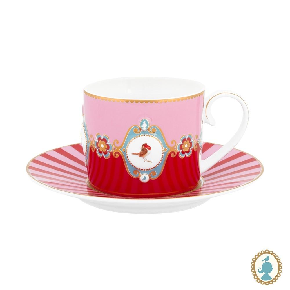 Xícara de Chá Medallion Rosa/Vermelho - Love Birds