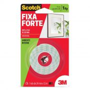 Fita Dupla Face 3M Scotch® Fixa Forte Espuma - Uso Interno - 24mm x 1,5m