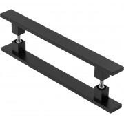 Puxador Duplo Reto Para Porta Vidro/Madeira/Metal União Mundial 60cm  - Preto