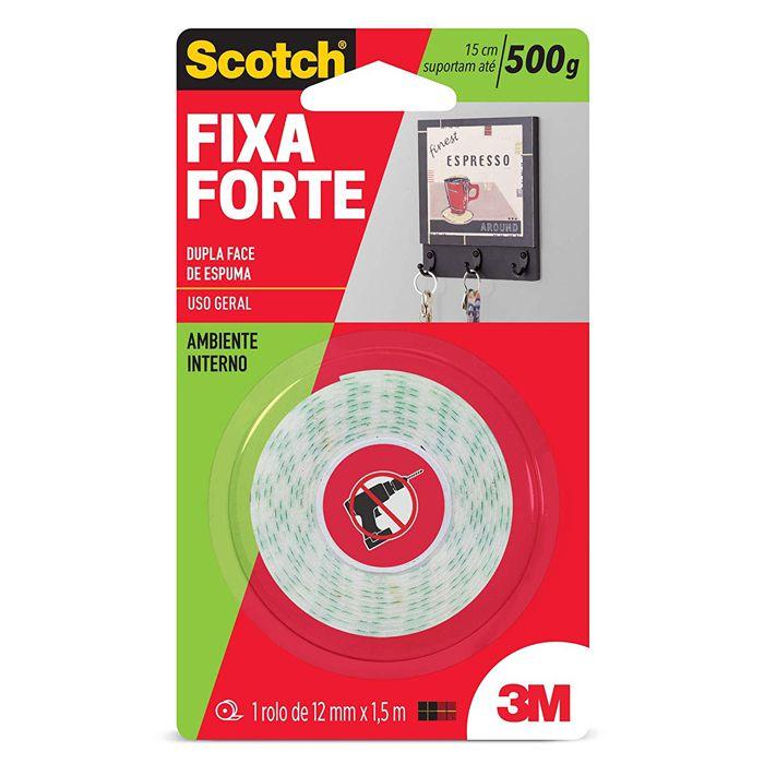 Fita Dupla Face 3M Scotch® Fixa Forte Espuma - Uso Interno - 12mm x 1,5m