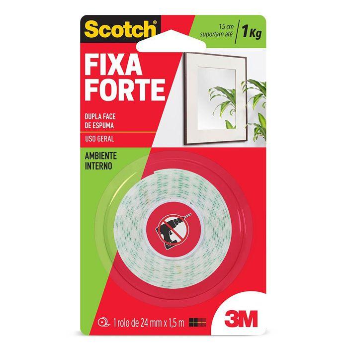 Fita Dupla Face 3M Scotch® Fixa Forte Espuma - Uso Interno - 24mm x 1,5m