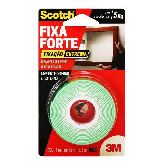 Fita Dupla Face 3M Scotch® Fixa Forte Fixação Extrema - 24mm x 2m