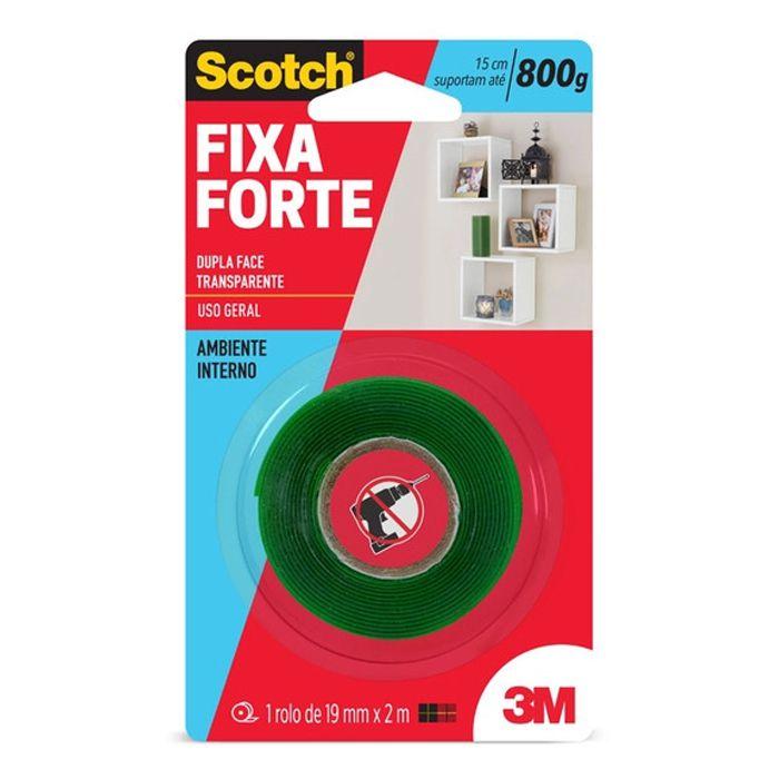Fita Dupla Face 3M Scotch® Fixa Forte Transparente - Uso Interno - 19mm x 2m