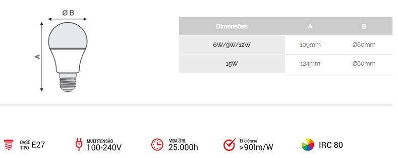 Kit 10 Lâmpadas LED 12w 3000k Amarela Bivolt